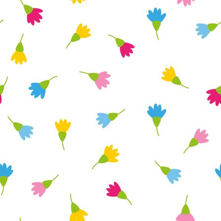 Floral spring colorful blossoms on white background romantic wedding concept seamless pattern Illustration