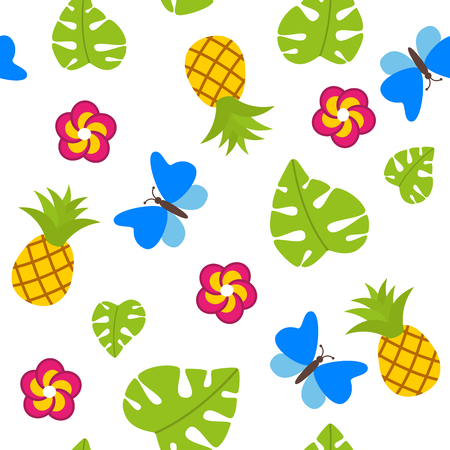 Tropical seamless pattern on white background with pineapples vector