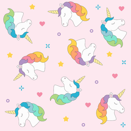 Unicorn head seamless pattern colorful on pink background