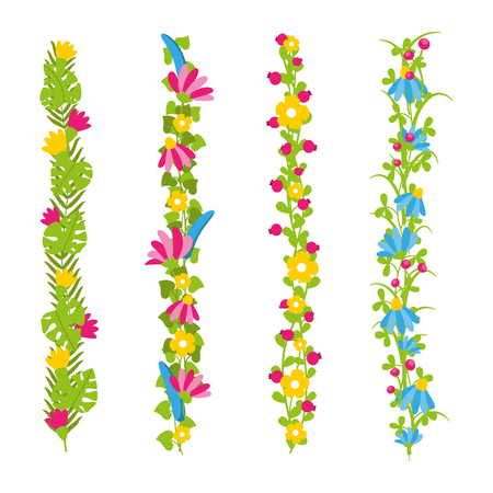 Floral brushes or borders with colorful flowers