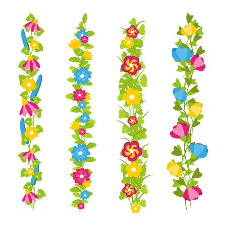 Set of flower brushes with blossoms and leafs vector Illustration