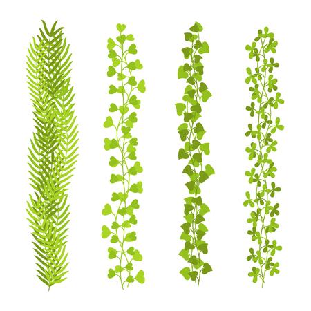 Floral leaf green brushes set vector illustration