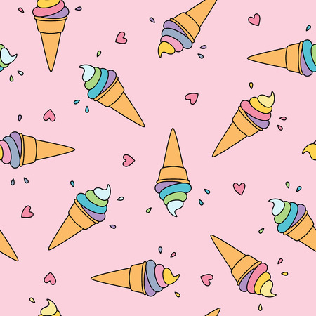 Pastel ice cream seamless pattern with cute hearts on pink background Illustration