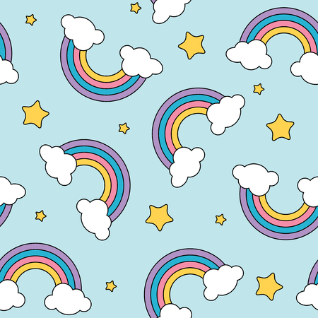 Pastel rainbow and stars seamless pattern on blue background with black outline