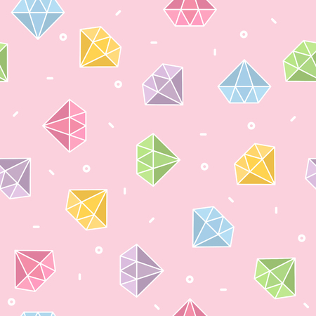 Pastel diamond seamless pattern with pink background vector Illustration