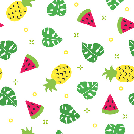 Exotic summer seamless pattern with watermelon and pineapple and white background