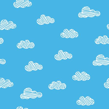 Scribble clouds on blue background, seamless pattern sky concept Illustration