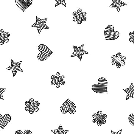 Black scribble shapes on white background, minimalistic concept seamless pattern