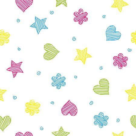 Colorful shapes - heart, flower and star seamless pattern, minimalistic kid concept Illustration