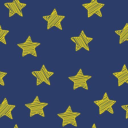 Scribble stars on dark blue background, christmas simple seamless pattern Illustration