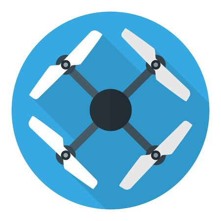 Drone or quadrocopter flat circle icon isolated