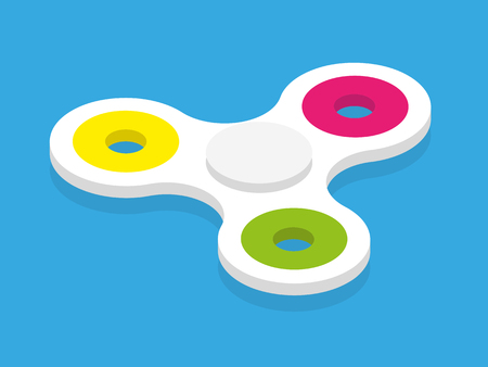 Isometric fidget spinner kid toy colorful and white vector Illustration