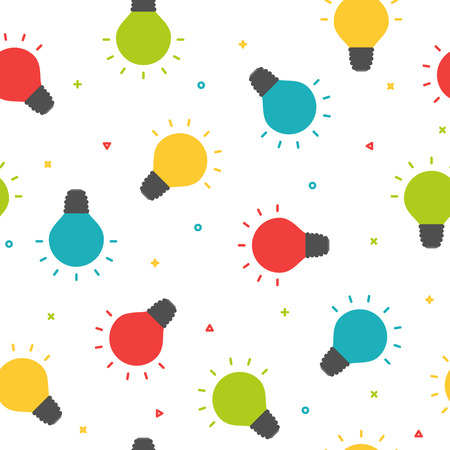 Colorful shining bulbs seamless pattern, party background concept