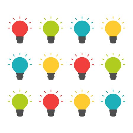 Colorful lightbulbs isolated set, creative team thinking concept