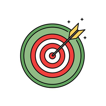 Dartboard with bullseye retro circle icon, success and goal achieving concept Stock Photo