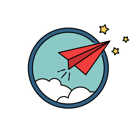 Paper airplane vector retro badge or icon, freedom or leadership business concept Stock Photo