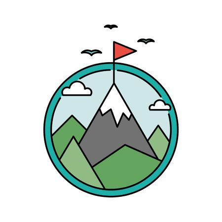 Retro success circular icon with mountain and flag, goal achievement business concept
