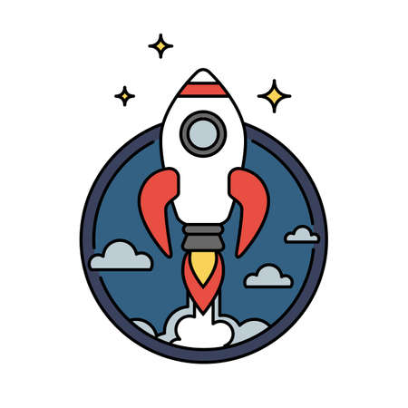 Retro colored rocket icon or circular badge isolated, innovation or startup concept