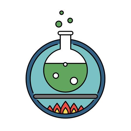 Laboratory tube retro circle icon, science experiment concept Stock Photo