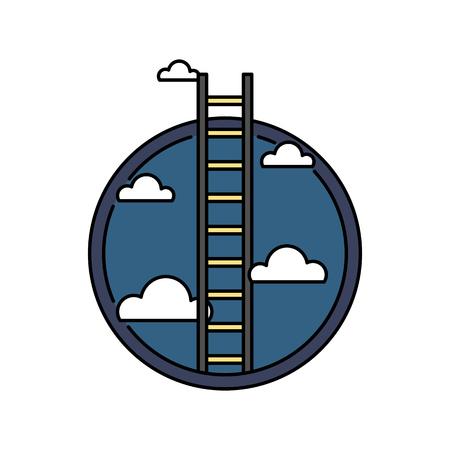 Business success ladder to the sky, retro colored circular icon, achievement concept