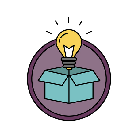 Thinking outside the box retro badge circular icon with light bulb, innovation and solution concept Illustration