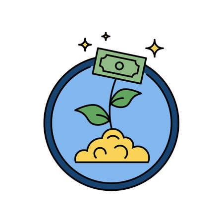 Business money growth, plant with banknote retro circular badge or icon Illustration
