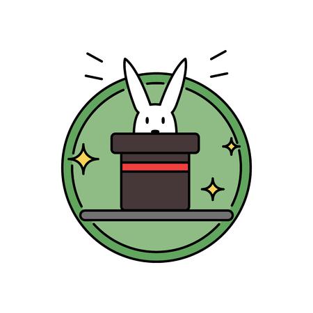 Rabbit inside magician hat, funny magic trick concept circle badge