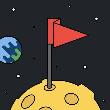 Moon with flag in space, achievement and success concept