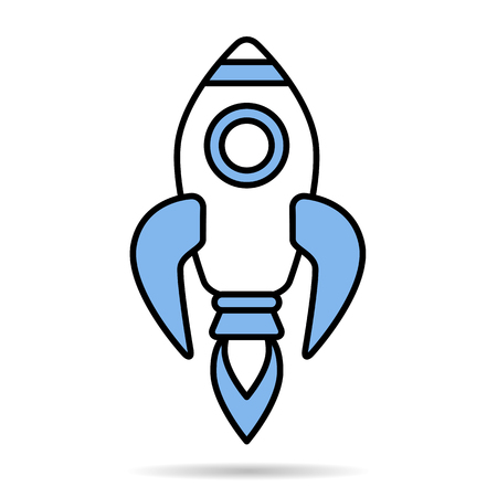 Linear simple blue rocket icon isolated on white