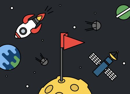 Moon with flag and universe around - rocket, earth, satellites and space station retro style, achievement or success concept.
