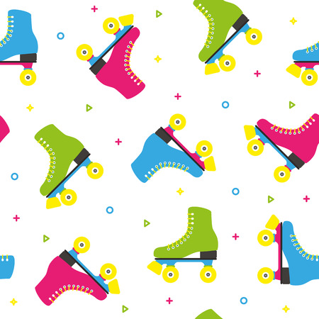 Retro quad roller skates colorful seamless pattern Illustration