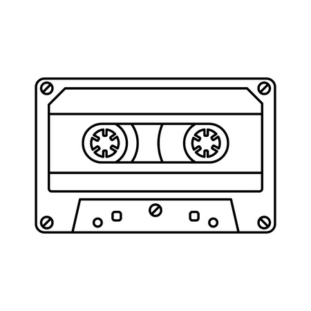 Retro cassette icon black line simple isolated Illustration