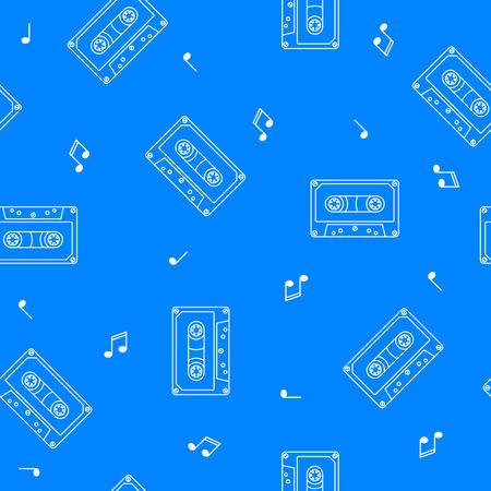Retro cassette seamless pattern music concept