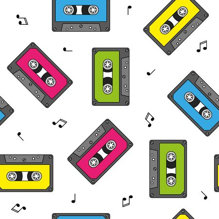 Colorful retro cassettes seamless pattern with notes Stock Photo