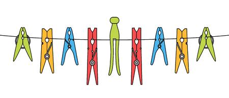 절연 된 로프에 설정된 다양한 옷이나 세탁 핀
