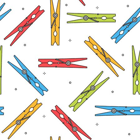 drawing pin: Colorful clothes peg seamless pattern Stock Photo