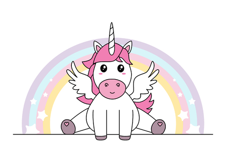Cute unicorn with wings sitting isolated