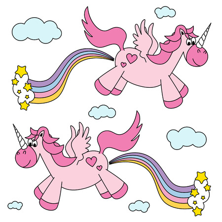 farting: Cute funny pink unicorns farting rainbow and flying vector