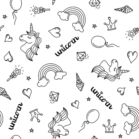 Unicorn, rainbow and hearts seamless pattern hand drawing black outline isolated on white background vector