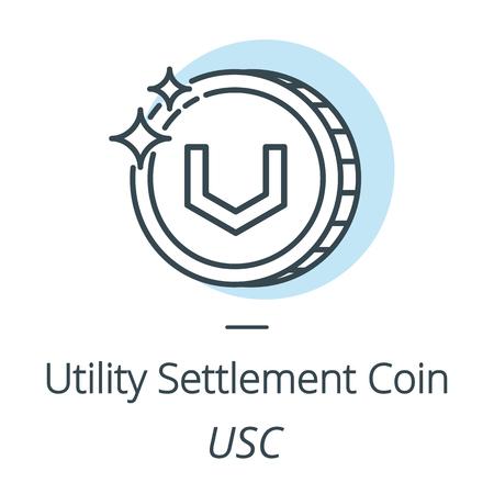 유틸리티 결제 동전 USC cryptocurrency 동전 라인, 가상 통화 벡터의 아이콘