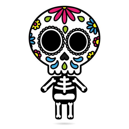 Carácter de cráneo de azúcar aislado día del concepto de muerto