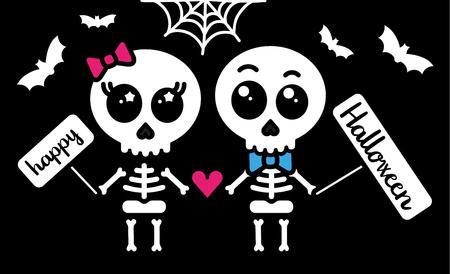 Amor esqueleto lindo pareja niño y niña tarjeta feliz halloween Foto de archivo - 88722154
