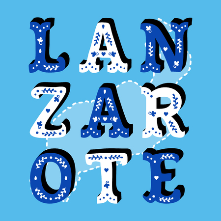 Lanzarote decorative ornate text with island map blue background