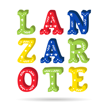 Lanzarote bright colorful text ornate letters with floral elements isolated vector