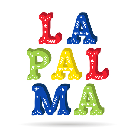 La Palma bright colorful text ornate letters with floral elements isolated vector Banco de Imagens - 89518472
