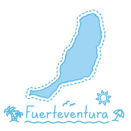 Fuerteventura isla mapa aislado cartografía concepto canarias vector
