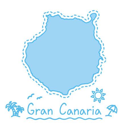Gran Canaria island map isolated cartography concept canary islands vector