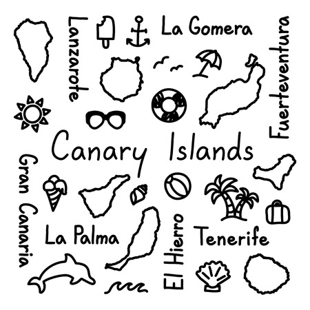 Canary Islands hand drawn doodle outline summer concept.
