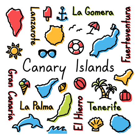 カナリア諸島を描く落書きカラフルな夏のコンセプトです。
