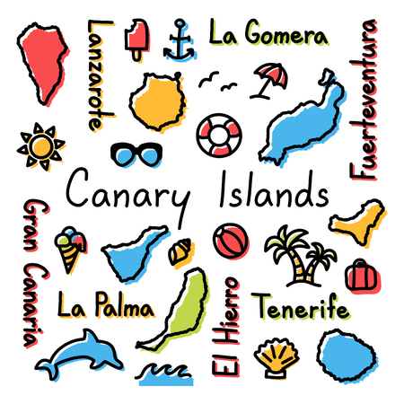 Canary Islands drawing doodle colorful summer concept.